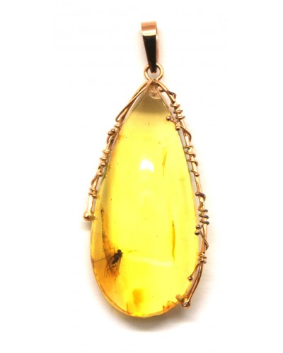 Baltic amber gold drop pendant with insect
